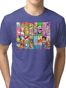 80s Girls Totally Radical Cartoon Spectacular!!! Tri-blend T-Shirt