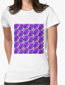 Audrey Violet Blue Pink Yellow Pattern Womens Fitted T-Shirt