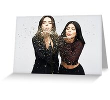 Kendall Jenner and Kylie Jenner Kiss Photoshoot Greeting Card