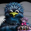 Big Round Head Bird with Babe by GolemAura