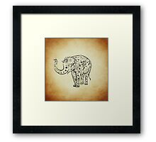 Vintage Smiling Floral Pattern Elephant Framed Print