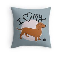 I Love My Red Dachshund Throw Pillow
