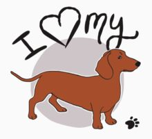 I Love My Red Dachshund Kids Clothes