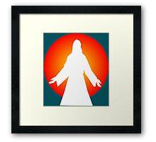 Colorful Orange Setting Sun Jesus Framed Print
