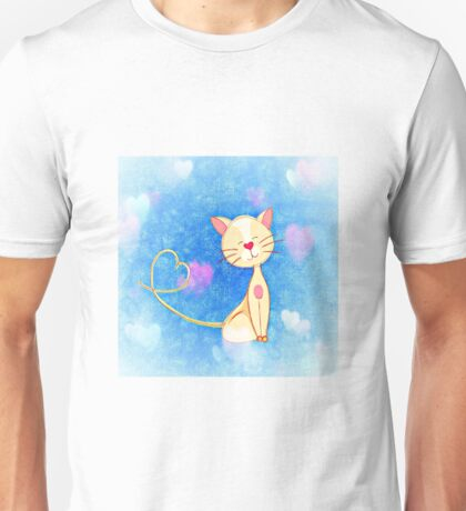 Adorable Cat Illustration with Hearts Unisex T-Shirt