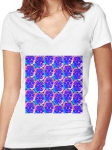 Audrey Violet Pink Blue Cream Beige Pattern Women's Fitted V-Neck T-Shirt
