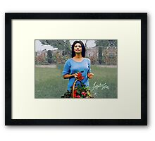 Sophia Loren carrying a basket Framed Print