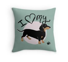 I Love My Black & Tan Dachshund Throw Pillow