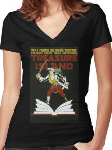 Vintage poster - Treasure Island Women's Fitted V-Neck T-Shirt