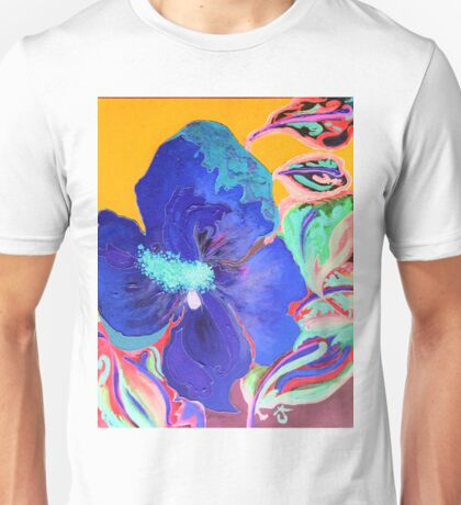 Birthday Acrylic Blue Orange Hibiscus Flower Painting with Red and Green Leaves Unisex T-Shirt
