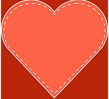 Simple Pink and Red Stitched Heart Photographic Print