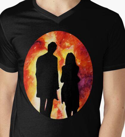 The Doctor and Clara Mens V-Neck T-Shirt
