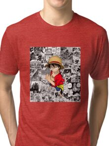 One Piece Luffy Collage Tri-blend T-Shirt