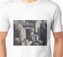 Aerial View, Lower Manhattan, City Hall. Municipal Building, One World Observatory, World Trade Center Observation Deck, Lower Manhattan, New York City Unisex T-Shirt