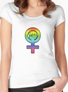 Women's Power / Feminist Symbol 3 Rainbow Women's Fitted Scoop T-Shirt