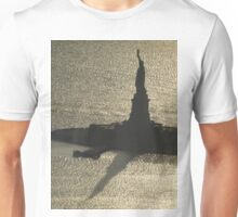 Aerial View, Statue Of Liberty and Shadow, One World Observatory, World Trade Center Observation Deck, Lower Manhattan, New York City Unisex T-Shirt