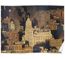 Aerial View, Union Square, Sunset,  One World Observatory, World Trade Center Observation Deck, Lower Manhattan, New York City Poster