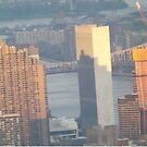 Aerial View, United Nations and Reflection, Sunset,  One World Observatory, World Trade Center Observation Deck, Lower Manhattan, New York City by lenspiro