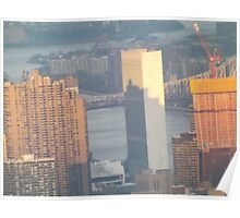 Aerial View, United Nations and Reflection, Sunset,  One World Observatory, World Trade Center Observation Deck, Lower Manhattan, New York City Poster