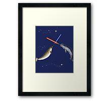 Jedi Narwhal  Framed Print