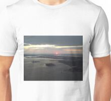 Aerial View, Hudson River, Ellis Island, New Jersey, Sunset, Skyline, One World Observatory, World Trade Center Observation Deck, Lower Manhattan, New York City Unisex T-Shirt