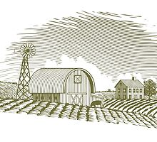 Woodcut Barn and Windmill by blue67sign