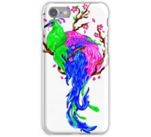 Vibrant peackock with cherry blossoms iPhone Case/Skin