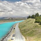 Fishing at the Pukaki Spillway. by Larry Lingard-Davis
