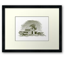 Woodcut Horse Barn Framed Print