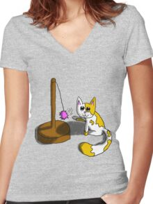 Playful Kitty Women's Fitted V-Neck T-Shirt