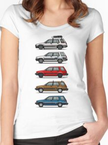 Stack Of Toyota Tercel Sr5 4wd Al25 Wagons Women's Fitted Scoop T-Shirt