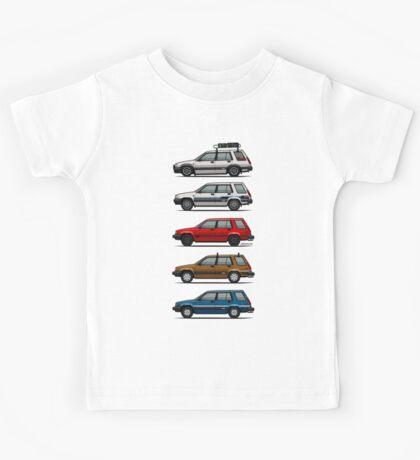 Stack Of Toyota Tercel Sr5 4wd Al25 Wagons Kids Tee