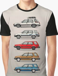 Stack Of Toyota Tercel Sr5 4wd Al25 Wagons Graphic T-Shirt