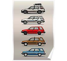 Stack Of Toyota Tercel Sr5 4wd Al25 Wagons Poster