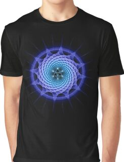 Merkaba Spiral Mandala Blue  ( Fractal Geometry ) Graphic T-Shirt