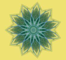 Fractal Flower - Green . Kids Tee