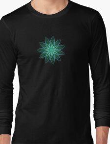 Fractal Flower - Green . Long Sleeve T-Shirt