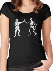 Black Bart Pirate Flag Women's Fitted Scoop T-Shirt