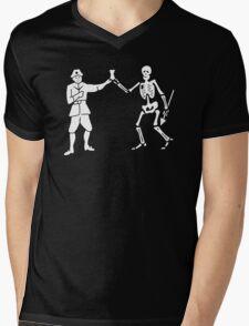 Black Bart Pirate Flag Mens V-Neck T-Shirt