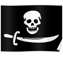 Black Bart Pirate Flag Poster