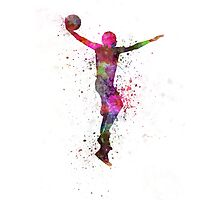 young man basketball player dunking Photographic Print