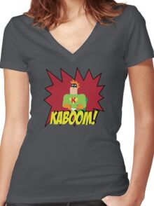 Kaboom guy  Women's Fitted V-Neck T-Shirt