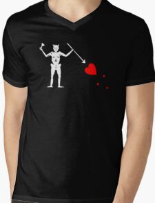 Edward Teach Pirate Flag Mens V-Neck T-Shirt