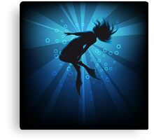 diving girl in flippers  Canvas Print