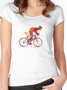 cyclist road bicycle Women's Fitted Scoop T-Shirt