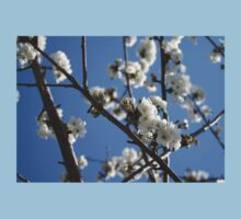 Cherry Blossom Branches Against Blue Sky Kids Tee