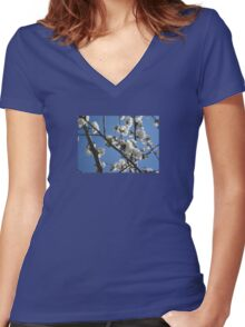 Cherry Blossom Branches Against Blue Sky Women's Fitted V-Neck T-Shirt