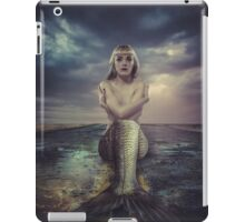 naked mermaid sitting on a deserted road iPad Case/Skin