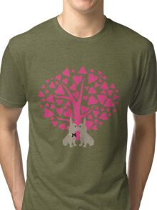Kissing French Bulldogs! Cute Valentines Day Design Tri-blend T-Shirt