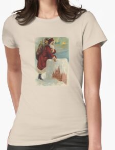 Santa Stepping Into A Chimney With Gifts T-Shirt